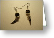 Jenna Greeting Cards - Black Dagger Earrings Greeting Card by Jenna Green