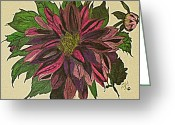 Kites Mixed Media Greeting Cards - Black Dahlia Greeting Card by Janet Tiffany