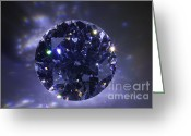 Illuminated Glass Greeting Cards - Black Diamond Greeting Card by Atiketta Sangasaeng