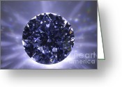 Illuminated Glass Greeting Cards - Black Diamond Shine Aura. Greeting Card by Atiketta Sangasaeng