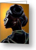 Hair Bun Greeting Cards - Black Diamonds and Pearls Greeting Card by Byron Fli Walker