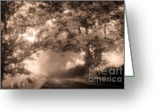 Lyrical Greeting Cards - Black Dog on a Misty Road. Misty Roads of Scotland Greeting Card by Jenny Rainbow