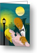 "\\\""haunted House\\\\\\\"" Greeting Cards - Black Dracula Greeting Card by Aloysius Patrimonio"