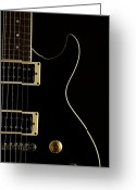 Museum Print Greeting Cards - Black Electric Guitar on Dark Background Greeting Card by M K  Miller