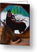 Black Elk Greeting Cards - Black Elk Drum Painting Greeting Card by Karon Melillo DeVega
