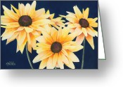 Black Eyed Susans Greeting Cards - Black Eyed Susans 2 Greeting Card by Ken Powers