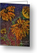 Brown Daisy Pastels Greeting Cards - Black Eyed Susans Greeting Card by Emily Michaud