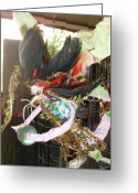 Surrealism Sculpture Greeting Cards - Black Feather Fairy with green ball Greeting Card by Heather  Whitney