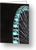 Ferris Wheels Greeting Cards - Black Ferris Greeting Card by Emily Stauring