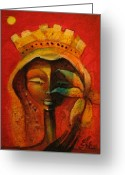 Haitian Greeting Cards - Black Flower Queen Greeting Card by Elie Lescot