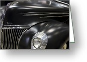Antique Automobile Greeting Cards - Black Ford Greeting Card by Dennis Hedberg