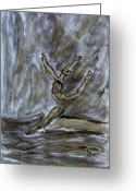 Jump Drawings Greeting Cards - Black Gold Young Female Ballet Dancer in Strong Powerful Striking Jump off the Ballroom Floor Arms Greeting Card by M Zimmerman MendyZ