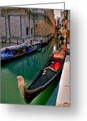 Gondola Photo Greeting Cards - Black Gondola Greeting Card by Peter Tellone