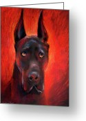 Dog Prints Drawings Greeting Cards - Black Great Dane dog painting Greeting Card by Svetlana Novikova