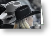 Cowboy Hats Greeting Cards - Black Hat Blond Hair Greeting Card by Joan Carroll