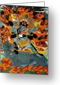 Thanka Greeting Cards - Black Hayagriva Greeting Card by Sergey Noskov
