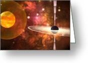 Orbit Greeting Cards - Black Hole Greeting Card by Corey Ford