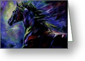 Equines Painting Greeting Cards - Black Horse Greeting Card by Diane Williams