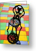 Bricks Greeting Cards - Black iron chair Greeting Card by Garry Gay