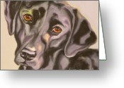 Dog Prints Drawings Greeting Cards - Black Lab Aint No Cure For Love Greeting Card by Susan A Becker