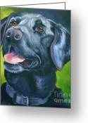 Dog Prints Drawings Greeting Cards - Black Lab Forever Greeting Card by Susan A Becker