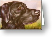 Dog Prints Drawings Greeting Cards - Black Lab In The Field Greeting Card by Susan A Becker
