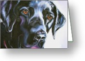 Dog Prints Drawings Greeting Cards - Black Lab No Ordinary Love Greeting Card by Susan A Becker
