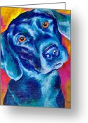 Black Lab Puppy Greeting Cards - Black Lab Pop art Greeting Card by Christy  Freeman