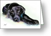 Black Lab Puppy Greeting Cards - Black Lab Stretching out Greeting Card by Christy  Freeman
