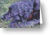 Black Lab Puppy Greeting Cards - Black Labrador Retriever Greeting Card by Lee Ann Shepard