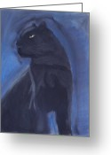 Black Leopard Greeting Cards - Black Leopard Greeting Card by Caitlin Pennington