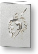 Indian Ink Greeting Cards - Black Man Greeting Card by Robert Martinez