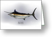 Game Drawings Greeting Cards - Black Marlin Greeting Card by Ralph Martens