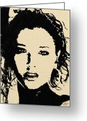 Portraits Greeting Cards - Black on cream Greeting Card by James Shepherd