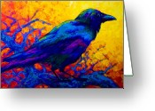 Autumn Painting Greeting Cards - Black Onyx - Raven Greeting Card by Marion Rose
