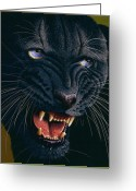 Panther Greeting Cards - Black Panther 2 Greeting Card by Jurek Zamoyski