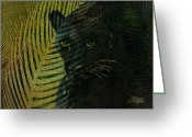 Panther Greeting Cards - Black Panther Greeting Card by Arline Wagner