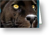 Panther Greeting Cards - Black Panther Greeting Card by Jurek Zamoyski