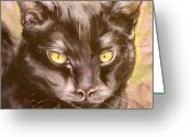 Pet Portrait Drawings Greeting Cards - Black Pearl Greeting Card by Susan A Becker
