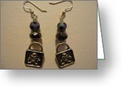 Earrings Jewelry Greeting Cards - Black Pirate Earrings Greeting Card by Jenna Green