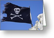 Sly Greeting Cards - Black Pirate Flag  Greeting Card by Garry Gay