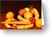 Mango Greeting Cards - Black Plate and Fruit Greeting Card by Andrea Nicosia