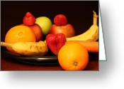 Mango Greeting Cards - Black Plate and Fruit Dreams Greeting Card by Andrea Nicosia
