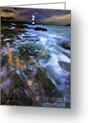 Threatening Greeting Cards - Black Point Light Greeting Card by Meirion Matthias