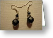Earrings Jewelry Greeting Cards - Black Sparkle Drop Earrings Greeting Card by Jenna Green
