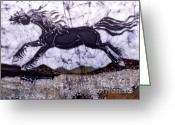 Motion Tapestries - Textiles Greeting Cards - Black Stallion Gallops Over Stones Greeting Card by Carol  Law Conklin