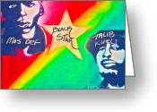 Sit-ins Greeting Cards - Black Star Greeting Card by Tony B Conscious
