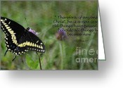 Swallow Tail Butterfly Greeting Cards - Black Swallow Tail Butterfly Greeting Card by Diane E Berry