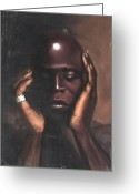 Originals Pastels Greeting Cards - Black Thought Greeting Card by L Cooper