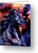 Equines Painting Greeting Cards - Black Thunder Greeting Card by Jan Taylor